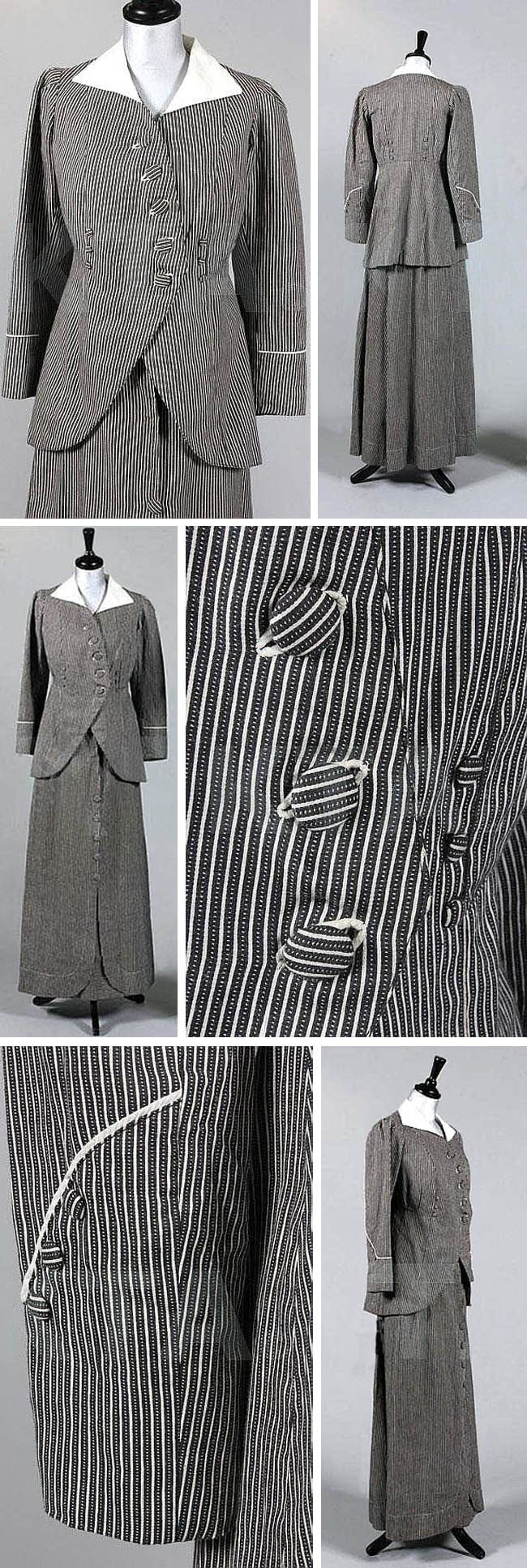 Directoire-style summer suit, A. Boucicaut for Au Bon Marché, ca. 1911. Black & white ticking with piqué collar, the jacket cut away at the front like a man's tailcoat with striped, self-covered buttons to fasten and 3 smaller ones at raised waist level. A-line skirt with buttons down back. Kerry Taylor Auctions/Invaluable