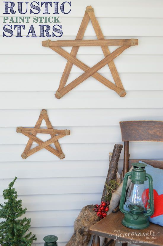 DIY Rustic Paint Stick Stars ...cute and inexpensive!
