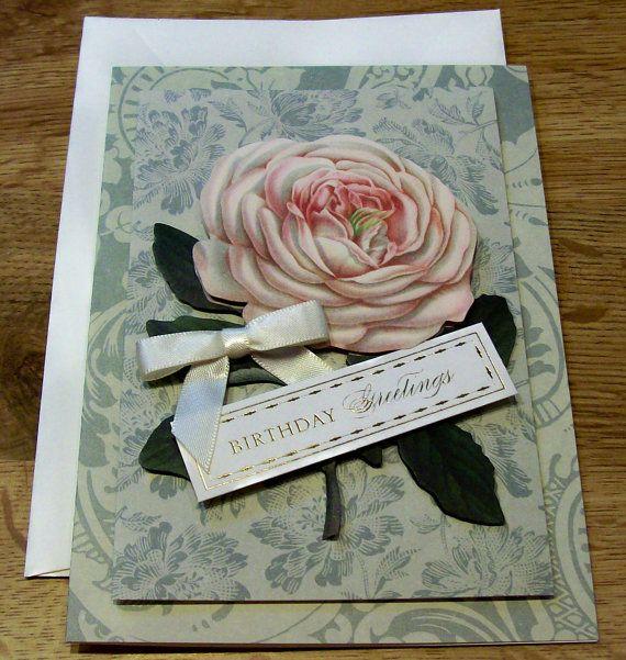 Handmade Birthday Card Anna Griffin Design And Supplies Vintage Look Rosesu2026
