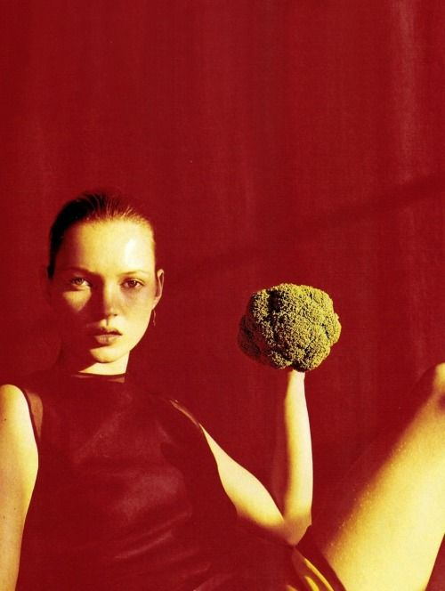 Lovely Kate Moss with broccoli