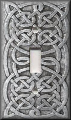 6 99 Light Switch Plate Cover Home Decor Celtic Knot Light Grey Ebay