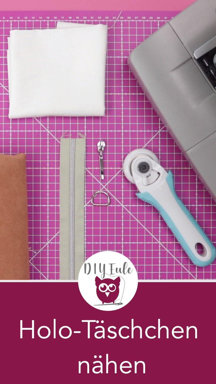 Holo-Kosmetiktäschchen aus PVC Folie und Kunstled…