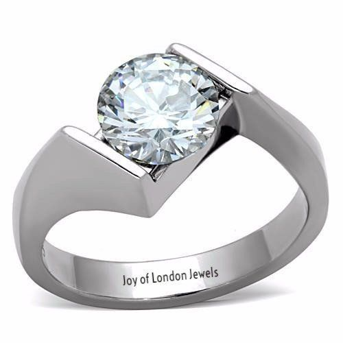 A Perfect Contemporary 2CT Round Cut Solitaire Russian Lab Diamond Engagement Ring - Joy of London Jewels