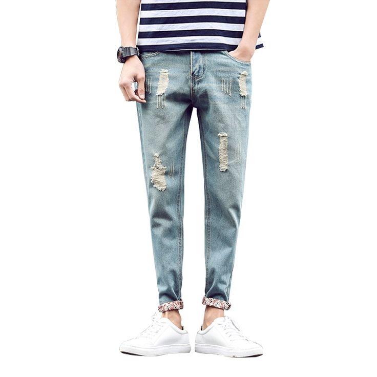 19.43$  Buy here - Men Jeans Pant Slim Fit Ankle-Length Jeans Summer Pencil Pants Fashion Hole Solid Mens Denim Trousers vaqueros hombre Size 28-36  #shopstyle