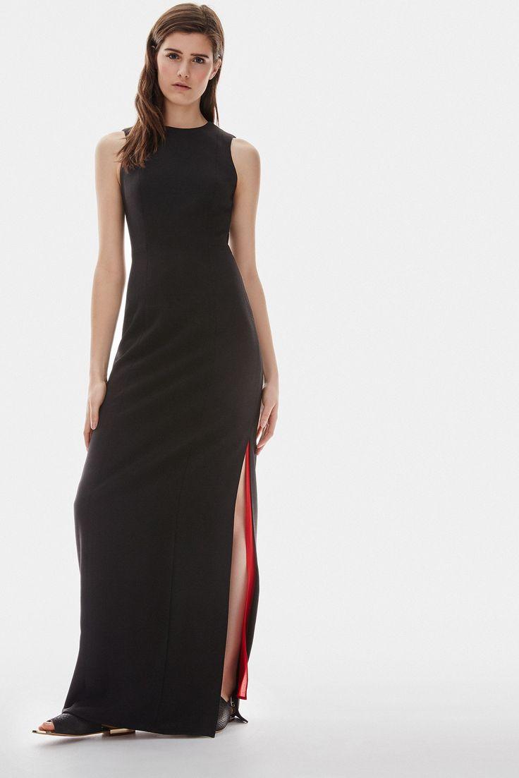 Vestido largo negro con forro rojo vestidos adolfo for Vestidos adolfo dominguez u