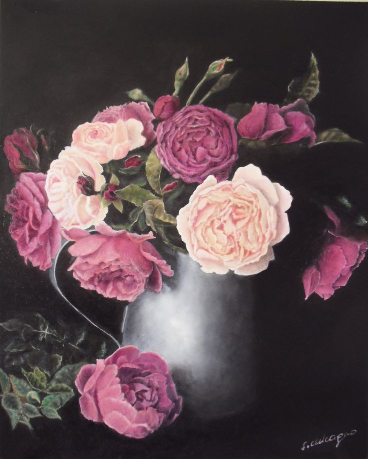 Vase of Roses, stll life, oil on panel, 40 x 50 cm, by Sara Calcagno, italian painter