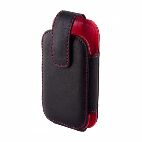 Kabura skórzana pionowa do Nokia E52 czarno-czerwona