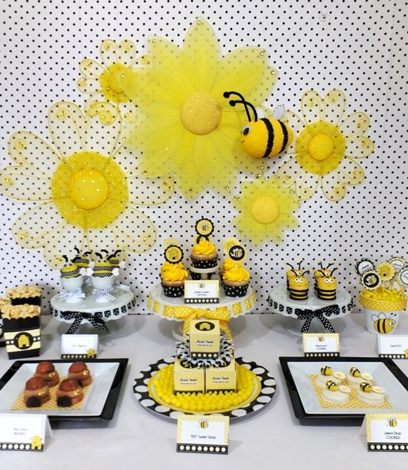 #stylishkidsparties Bird's Party Blog: Our NEW Honey Bee Printables + a Stunning Bumble Bee Inspired Desserts Table by Party Pinching!