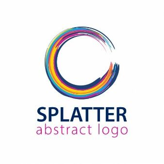 Logo with rounded splatter shape