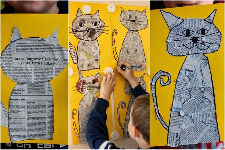 Kočičí inspirace.   Natrhejte noviny, nalepte do patřičného tvaru a lihovým fixem nakreslete potřebné kontury a detaily.   Toť vše.    ...