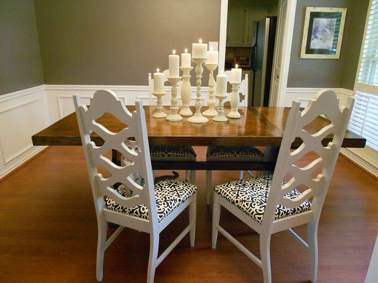 in the dining room with the candlestick dining room table centerpieces