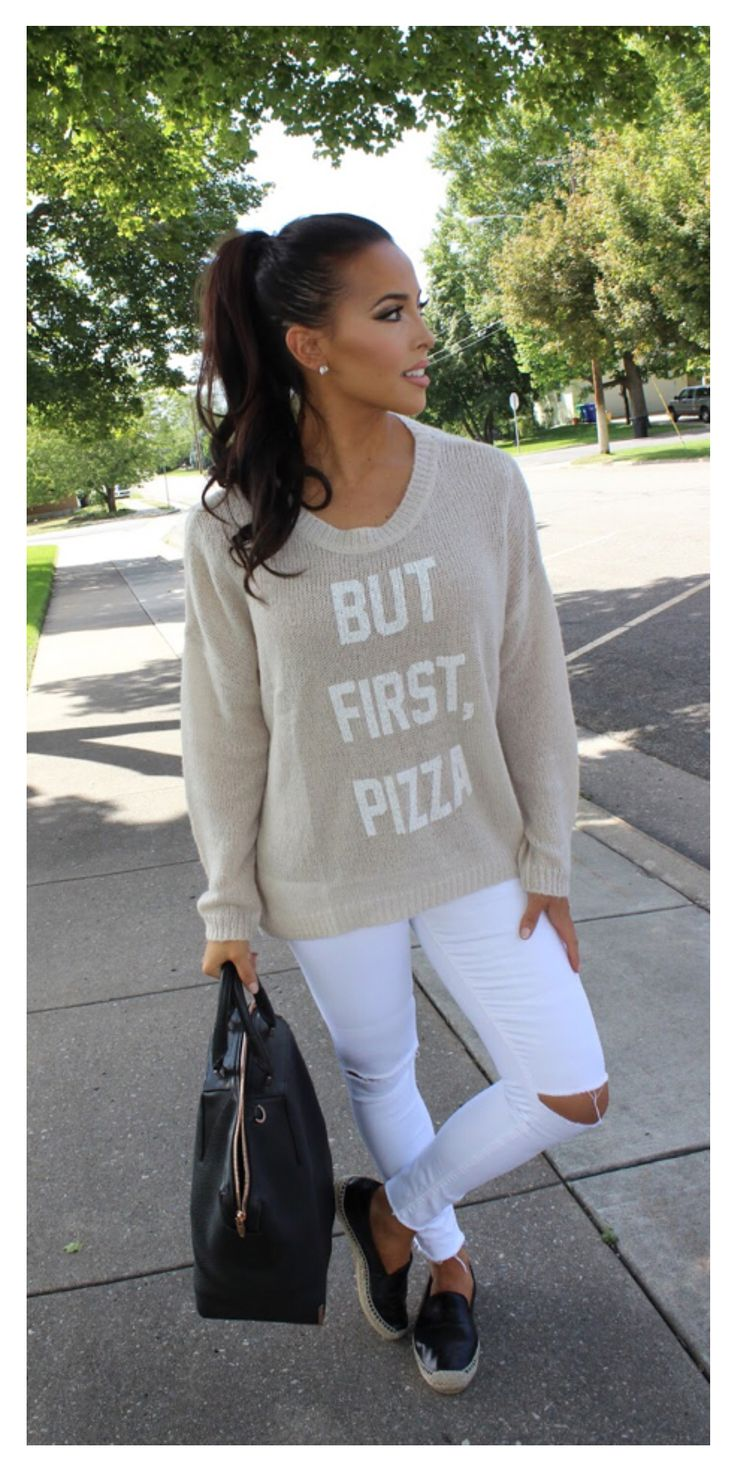 Casual fall day sweater outfit inspiration. But first, pizza! beige beach bum sweater, white jeans and black leather espadrilles.