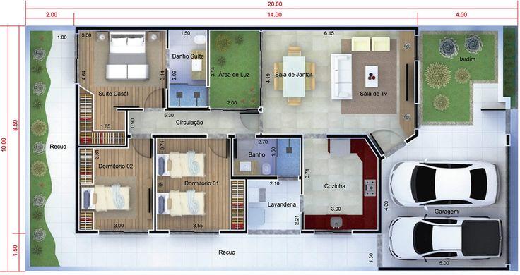 Planta de casa térrea moderna. Planta para terreno 10x20 minha casa