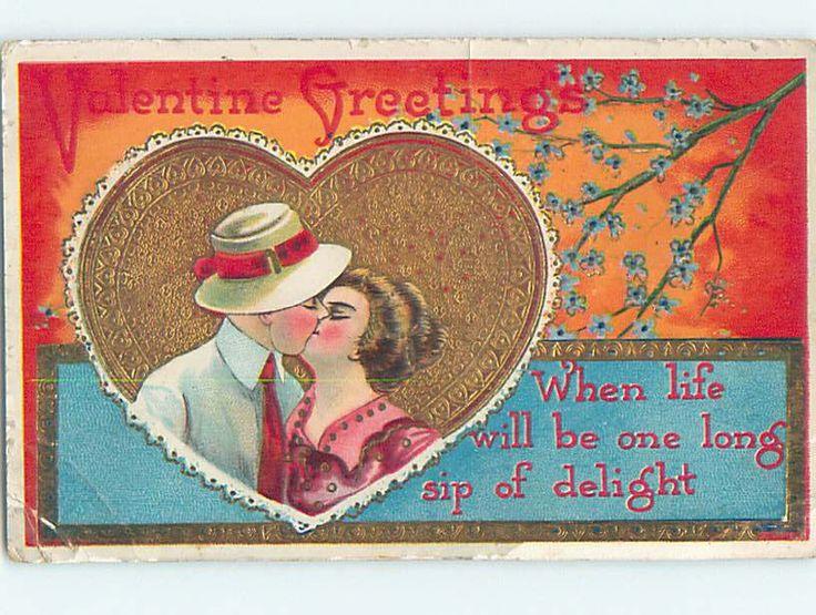 Pre Linen Valentine Romantic Couple Kissing Inside Golden Heart HJ2363 | eBay
