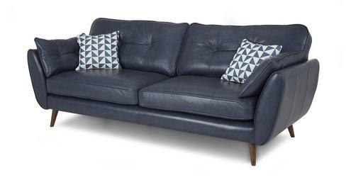 Zinc Leather 4 Seater Sofa Zinc Leather | DFS