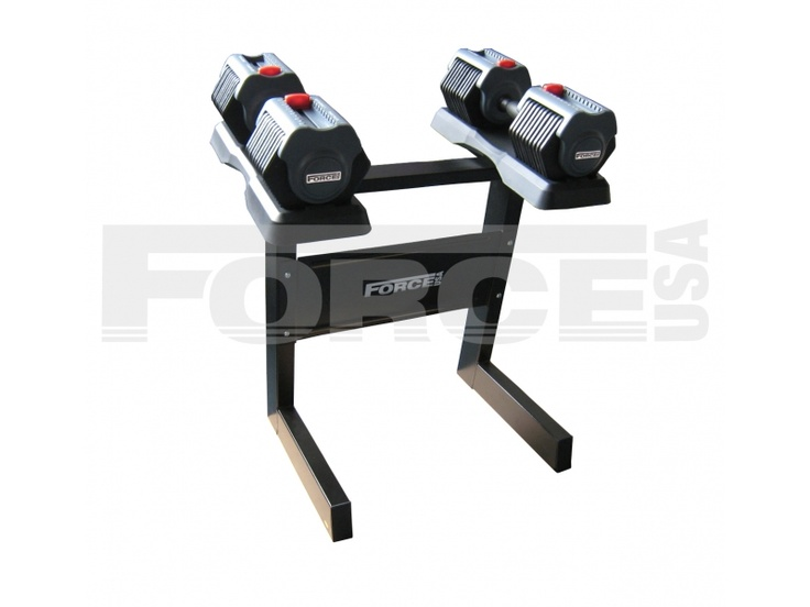 Force USA Adjustable Dumbbell & Rack 55lb (25kg)  The Force USA 55lb (25kg) Adjustable Dumbbell Set & Rack is a must have for any home gym or personal training studio.  - Easy to use, quick change weight selector - Practical, strong, reliable, convenient & great value - Adjustable from 2.5kg up to 25kg each dumbbell with a simple quick weight selection.   For more info visit: http://www.gymandfitness.com.au/force-usa-25kg-adjustable-dumbbell-set-and-rack.html