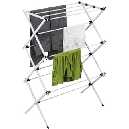 Clothing not included White/Silver finish   Metal construction  Adjustable height Sleek, silver coated steel dryi...