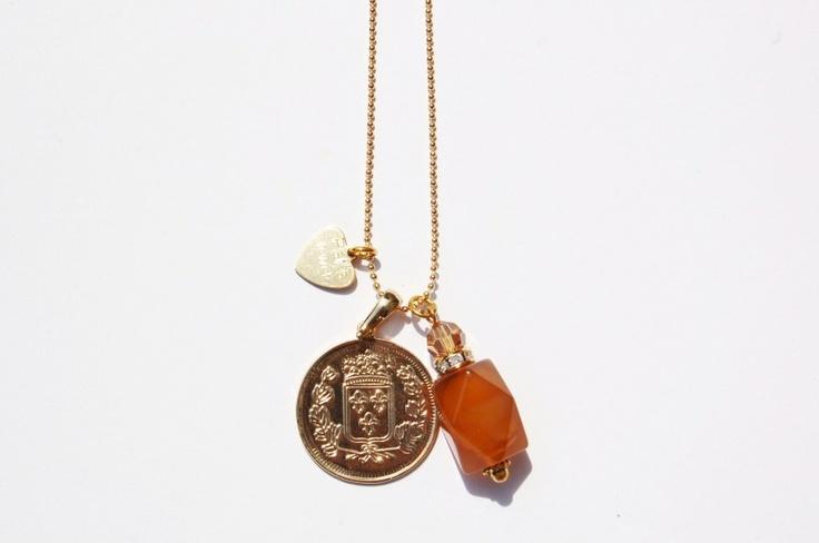 Trendy gouden munt ketting Jade | Kettingen | Pat`s Jewels