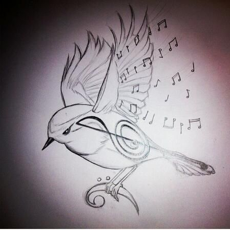 bird tattoos music notes - Google Search