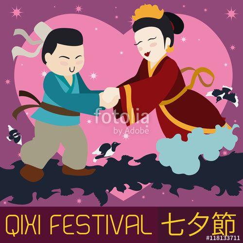 Cute Chinese Couple Celebrating Qixi Festival