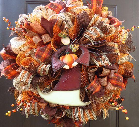 Fall Deco Mesh Wreath Autumn Deco Mesh Wreath by FestivalofWreaths, $105.00