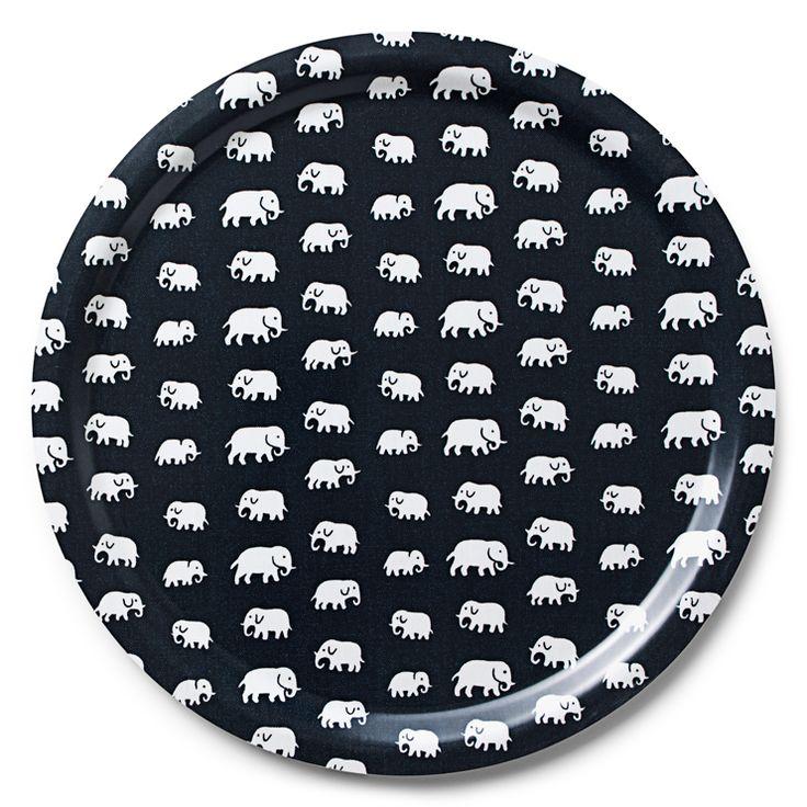 Bricka Rund Svart Elefant | Svenskt Tenn