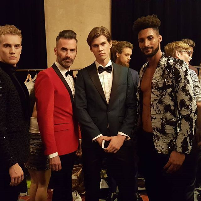 To my right we have ...Hunks.  Thanks for having us @houseofdalla was a pleasure to walk for you again at T.i.f.f.  I wish I could rock your suits every day.