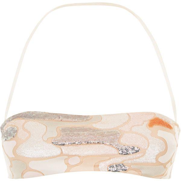 La Perla Make Love Bandeau Bikini Top ($372) ❤ liked on Polyvore featuring swimwear, bikinis, bikini tops, beige, sequin bandeau top, sequin bikini top, sequin swimwear, bandeau bikini tops and beige bikini