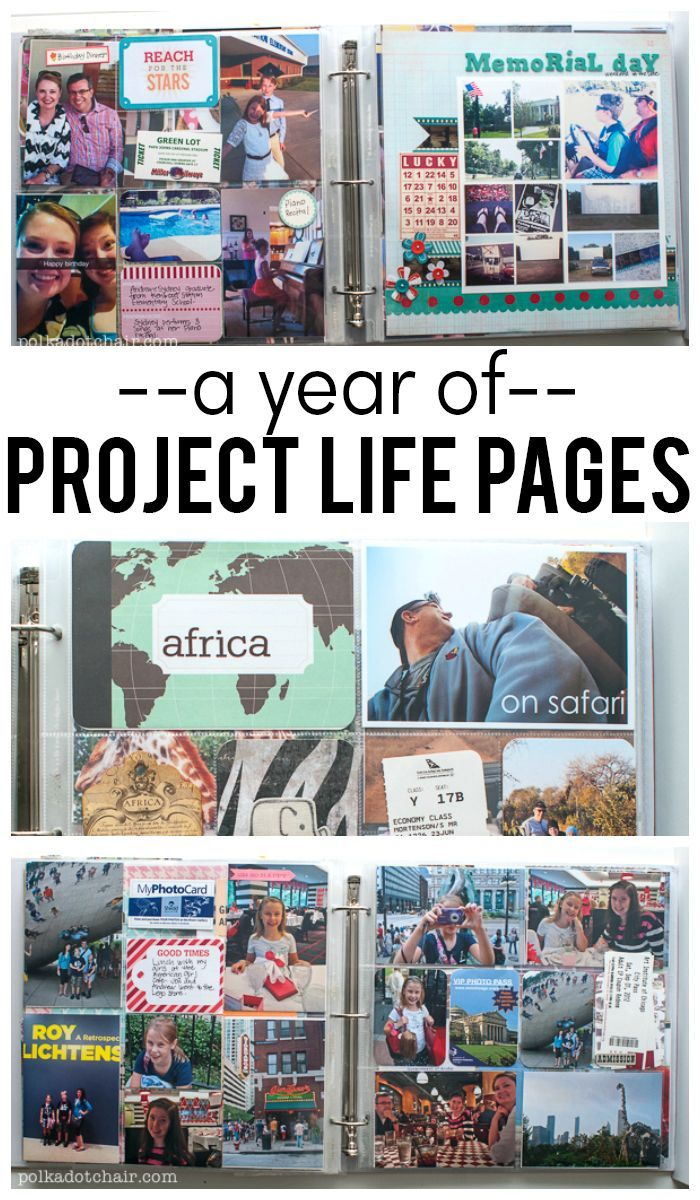 A Year of Project Life Page Ideas- A full year scrapbooked with Project Life- lots of page ideas---