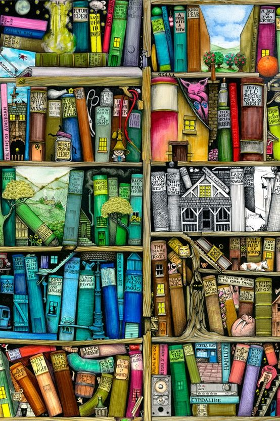 An interesting bookshelf that invites exploration.   Colin Thompson, Artist