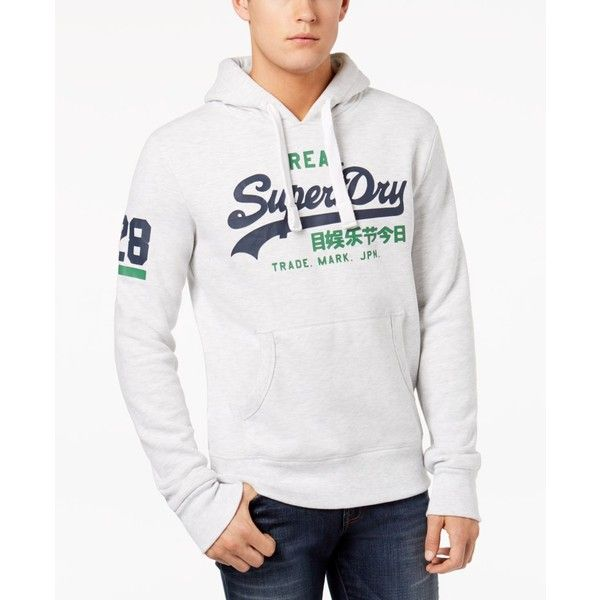 Superdry Men's Vintage Logo Duo Hoodie ($60) ❤ liked on Polyvore featuring men's fashion, men's clothing, men's hoodies, ice marl, mens sweatshirts and hoodies, mens cotton hoodie, mens cotton hoodies, mens hoodie and superdry mens hoodies
