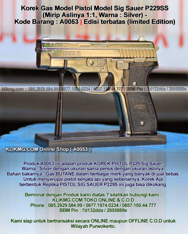 Korek Gas Model Pistol Model Sig Sauer P229SS (Mirip Aslinya 1:1, Warna : Silver) - Kode Barang : A0053   Edisi terbatas (limited Edition)