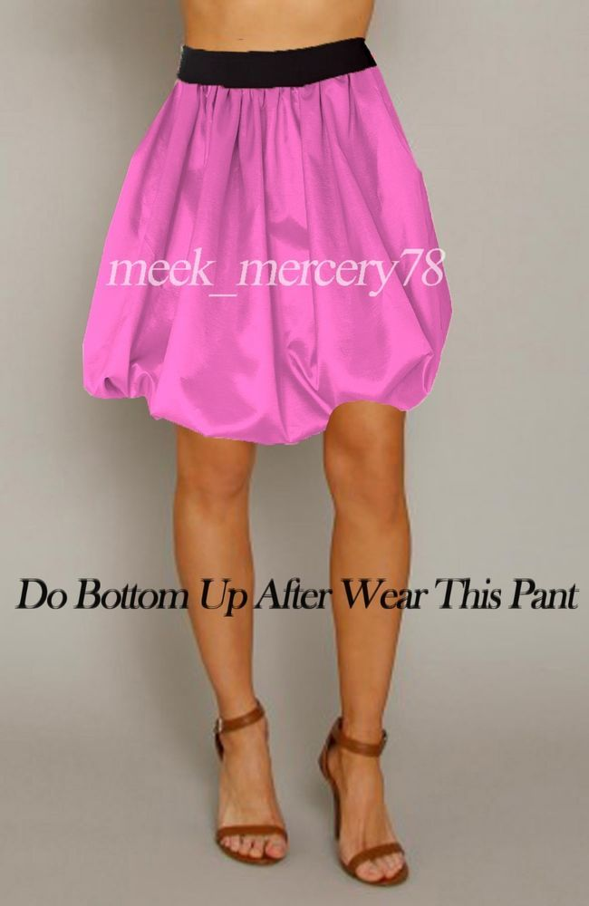 Pink Hot Girl Satin Bubble Short Pant Bloomer Casual Wear With Elastic #KF  #DressShorts