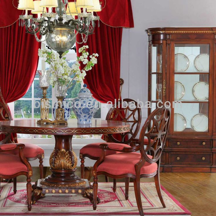 British Empire Round Dining Table SetWood Carved Room FurnitureLuxury Golden Rococo Style