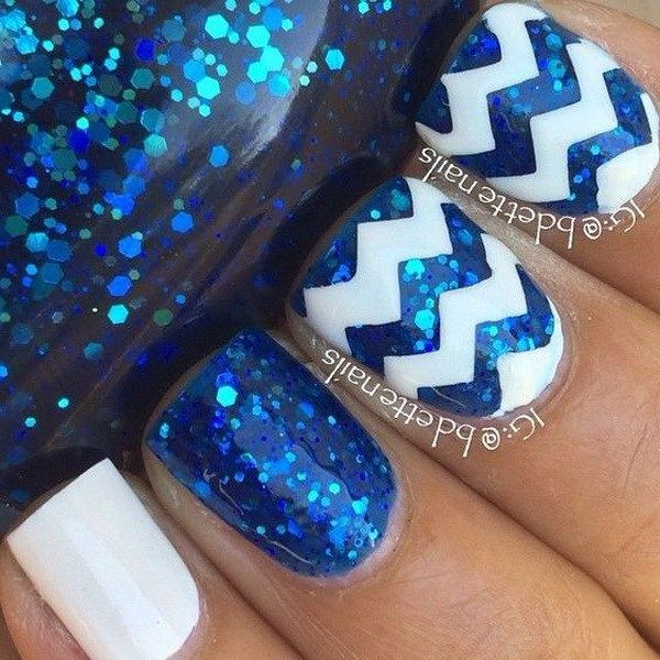Blue Sequins and White Nail with Chevron Design.