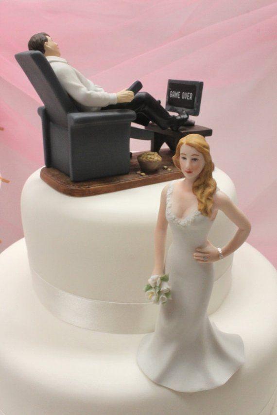 Custom Wedding Cake Topper Gamer Groom Video Game Groom
