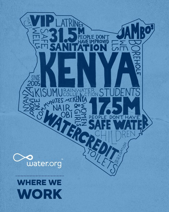Kenya | 17.5 million people in Kenya lack access to safe water. | #WhereWeWork | Water.orgWater Org, Kenya Infographic, Mission Info, Lack Accessible, Kenya Counting, Safe Water, Missions Info, Kenya Lack