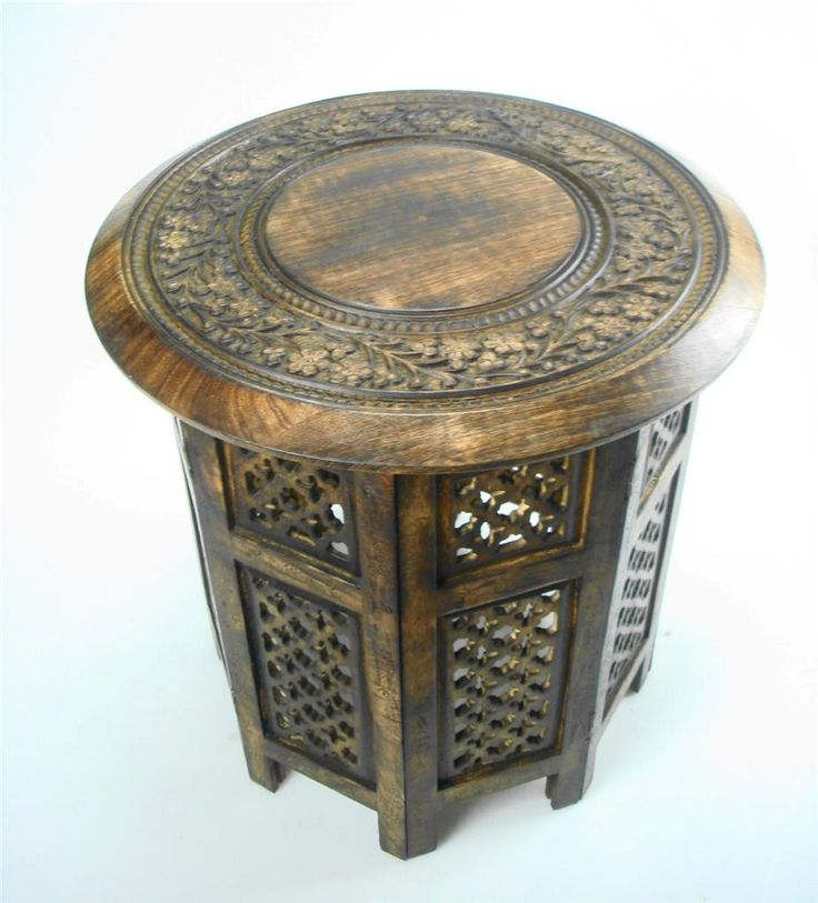 Coffee Table. Mehr Sehen. Beautiful Round Brown White Hand Carved Indian  Wooden