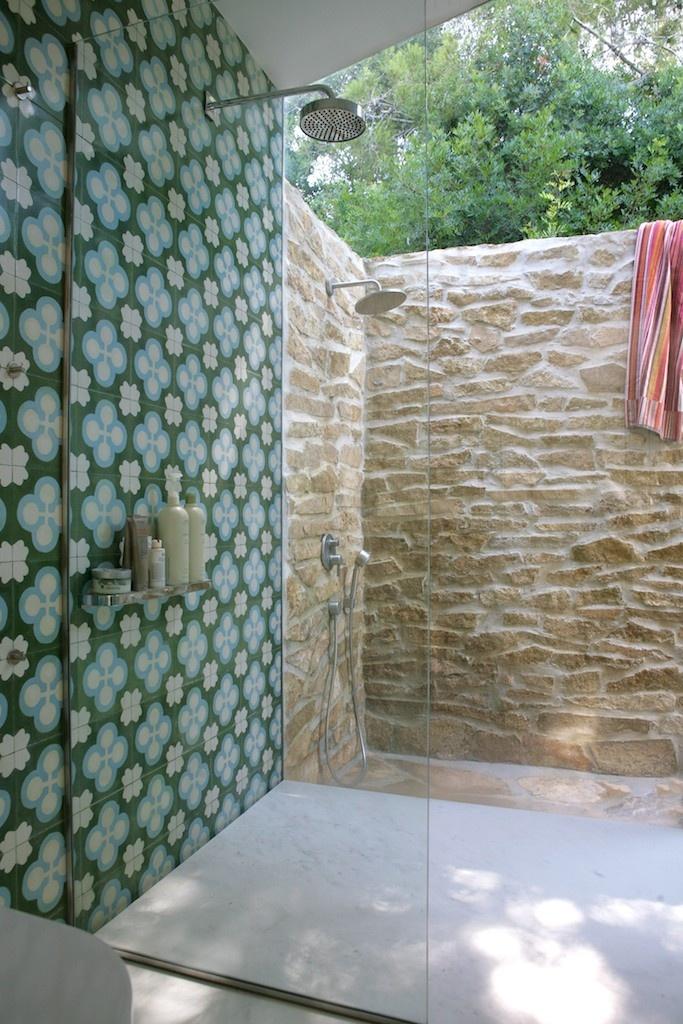 Indoor outdoor shower stone farm house pinterest for Indoor outdoor shower