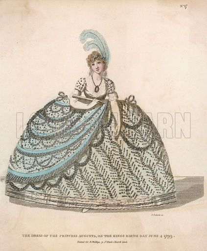 Dress worn by Princess Augusta on the birthday of King George III. Date 1799.