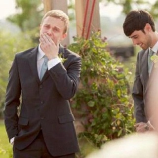 How sweet grooms reaction to seeing his bride