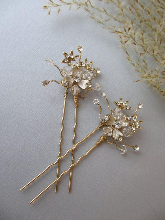 Gold Hair Pin SOLD INDIVIDUALLY Spring 2015 by UniqueJewelryLLC