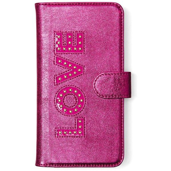 Michael Michael Kors Electronic Novelty Folio Tab Leather iPhone 7... ($71) ❤ liked on Polyvore featuring accessories, tech accessories, ultra pink, iphone leather case, iphone cover case, iphone cases, apple iphone case and michael michael kors