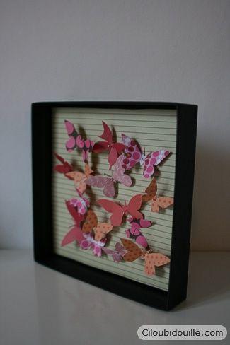 Faire un cadre de papillons en papier   Ciloubidouille