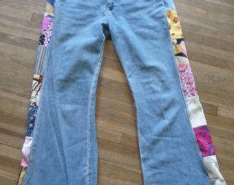 patchwork jeans, ruční džíny, unikátní oblečení, vintage patchwork, vintage novější tkaniny, recyklované džíny, kalhoty, oblečení, barevné patchwork
