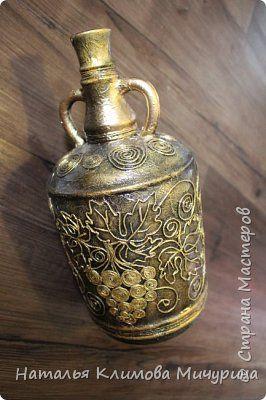 Декор предметов Аппликация из скрученных жгутиков Бутылки в технике пейп арт Салфетки фото 2