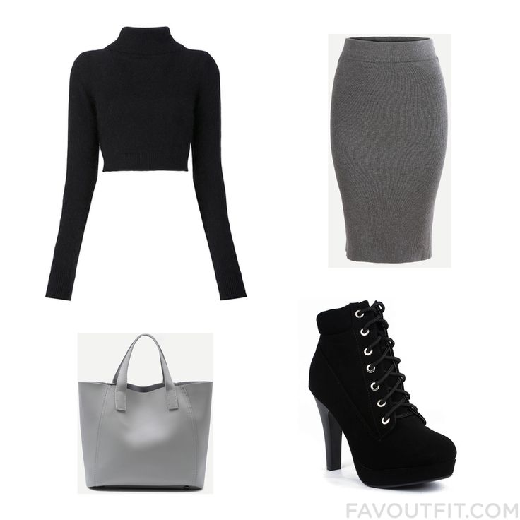 Look Guide Including Balmain Sweater Grey Skirt Ankle Booties And Handbag Purse From November 2016 #outfit #look