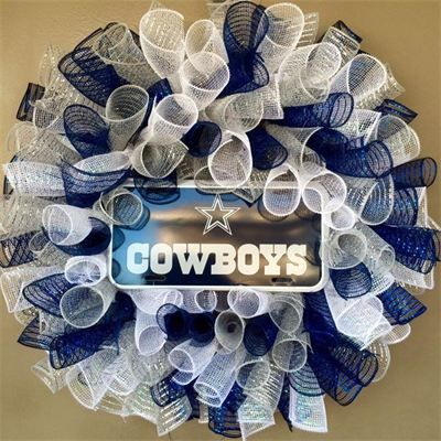Dallas Cowboys Spiral Mesh Football Wreath : $55 Made by Red-y Made Wreaths. Like & Follow us on Facebook https://www.facebook.com/pages/Red-y-Made-Wreaths/193750437415618 or Visit us at http://www.redymadewreaths.com/