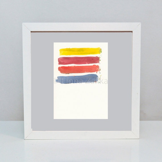 Watercolor Painting Yellow Red Orange Blue Abstract