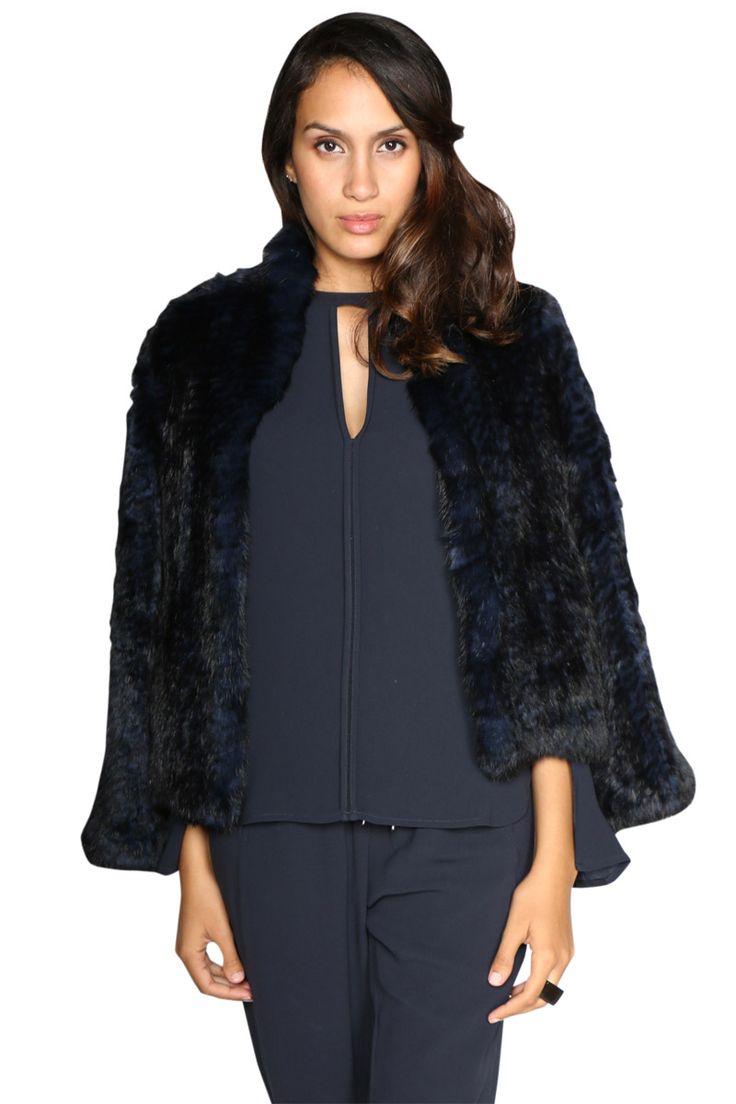 Luxe Deluxe - Lush Fur Jacket In Navy